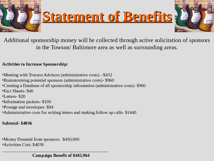 Statement of Benefits Additional sponsorship money will be collected through active solicitation of sponsors in the