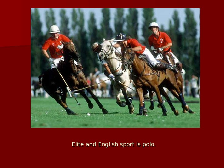 Elite and English sport is polo.