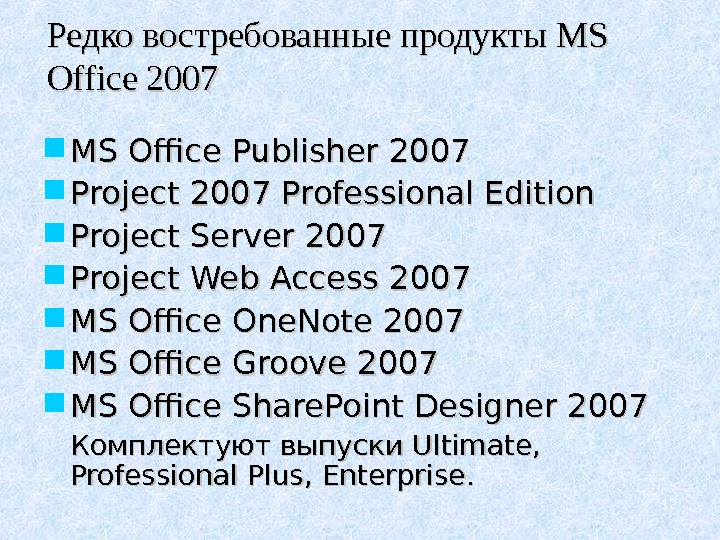 12 Редко востребованные продукты MS MS Office 2007 MS Office Publisher 2007 Project 2007 Professional Edition