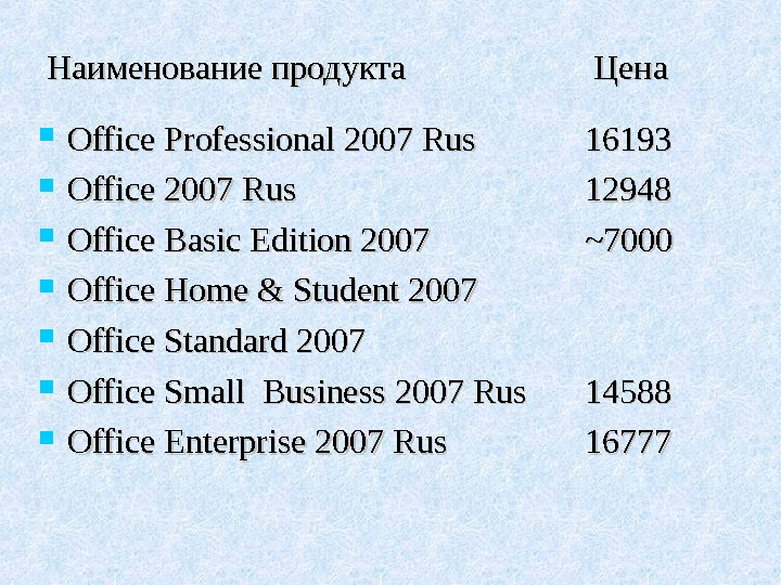 Наименование  продукта Цена Office Professional 2007 Rus 16193 Office 2007 Rus 12948 Office Basic Edition