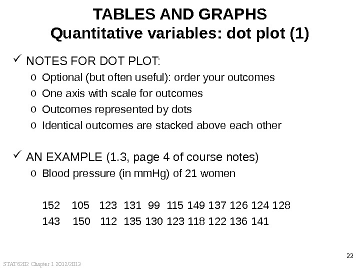 STAT 6202 Chapter 1 2012/2013 22 TABLES AND GRAPHS Quantitative variables: dot plot (1) NOTES FOR