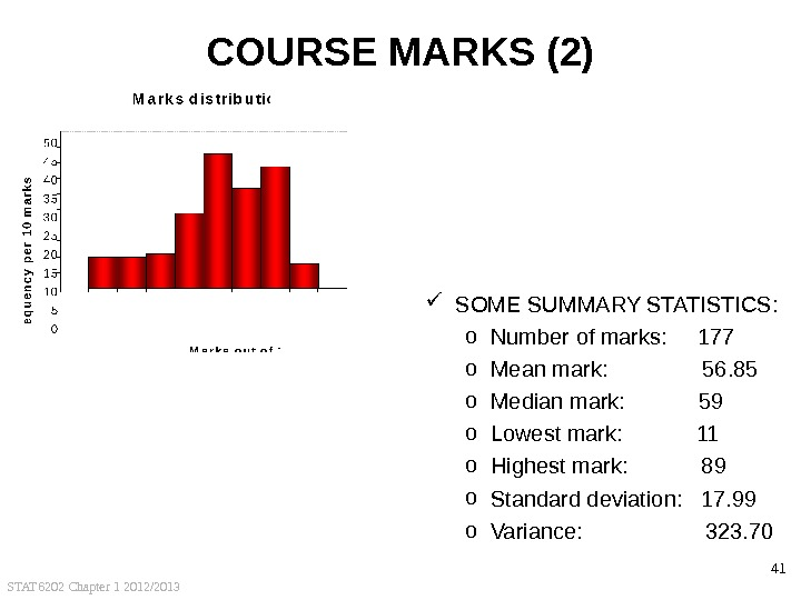 STAT 6202 Chapter 1 2012/2013 41 COURSE MARKS (2) SOME SUMMARY STATISTICS: o Number of marks: