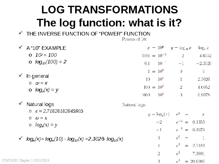 STAT 6202 Chapter 1 2012/2013 45 LOG TRANSFORMATIONS The log function: what is it?  THE