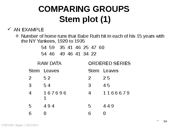 STAT 6202 Chapter 1 2012/2013 54 COMPARING GROUPS Stem plot (1) AN EXAMPLE o Number of