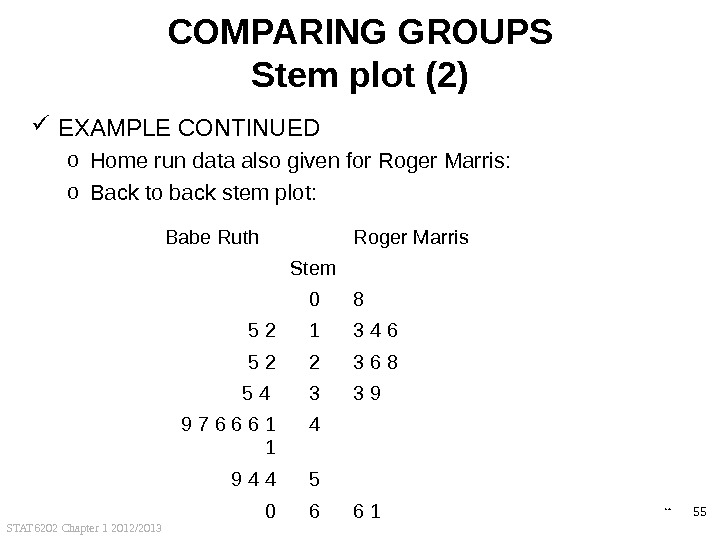 STAT 6202 Chapter 1 2012/2013 55 COMPARING GROUPS Stem plot (2) EXAMPLE CONTINUED o Home run
