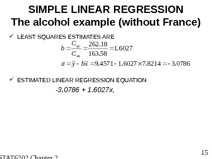 STAT 6202 Chapter 2 2012/2013 15 SIMPLE LINEAR REGRESSION The alcohol example (without France) LEAST