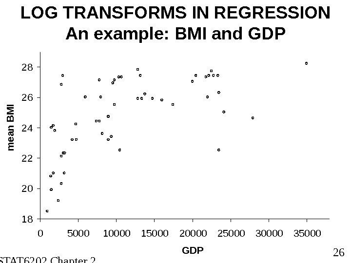 STAT 6202 Chapter 2 2012/2013 26 LOG TRANSFORMS IN REGRESSION An example: BMI and GDP