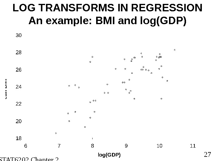 STAT 6202 Chapter 2 2012/2013 27 LOG TRANSFORMS IN REGRESSION An example: BMI and log(GDP)