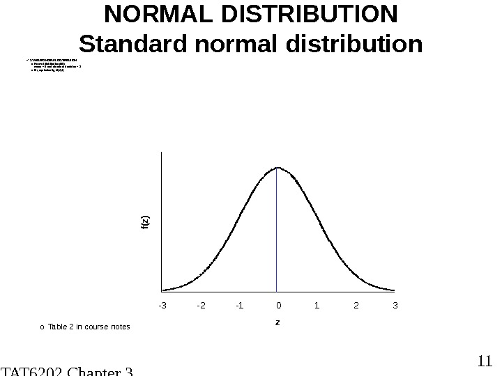 STAT 6202 Chapter 3 2012/2013 11 NORMAL DISTRIBUTION Standard normal distribution STANDARD NORM AL DISTRIBUTION