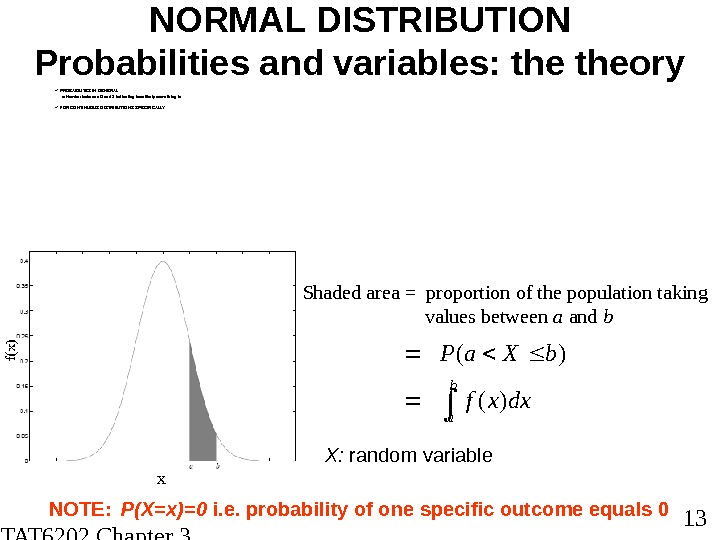STAT 6202 Chapter 3 2012/2013 13 NORMAL DISTRIBUTION Probabilities and variables: theory PROBABILITES IN GENERAL