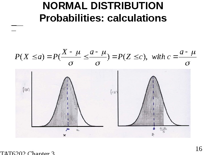 STAT 6202 Chapter 3 2012/2013 16 NORMAL DISTRIBUTION Probabilities: calculations FOR NOR MA L DIS