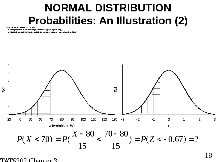 STAT 6202 Chapter 3 2012/2013 18 NORMAL DISTRIBUTION Probabilities: An Illustration (2) THE WEIGHT EXAMPLE