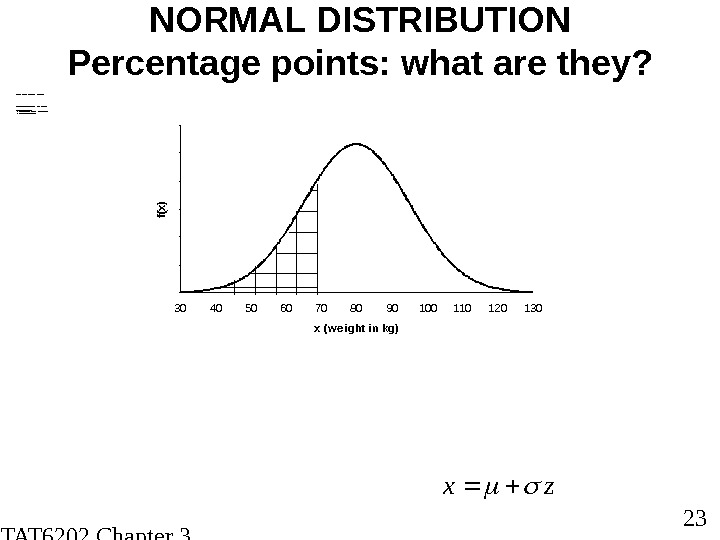 STAT 6202 Chapter 3 2012/2013 23 NORMAL DISTRIBUTION Percentage points: what are they?  SO