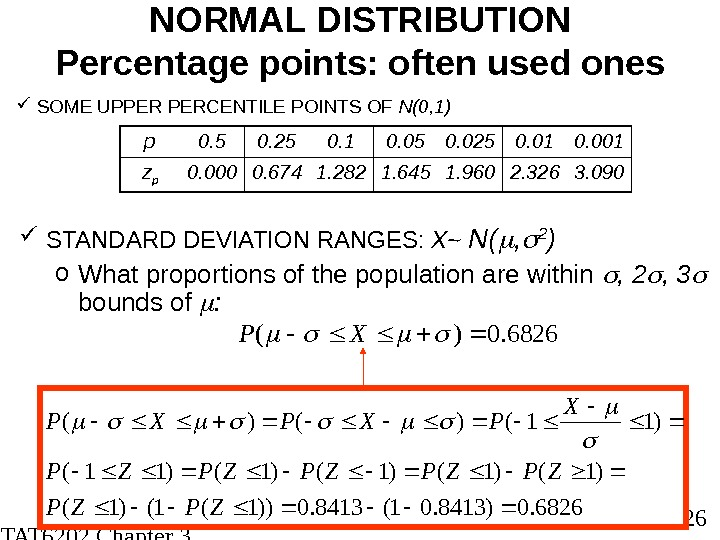 STAT 6202 Chapter 3 2012/2013 26 NORMAL DISTRIBUTION Percentage points: often used ones SOME UPPER