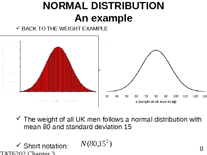 STAT 6202 Chapter 3 2012/2013 8 The weight of all UK men follows a normal