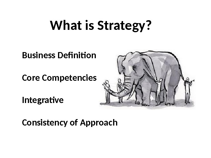 What is Strategy? Business Definition Core Competencies Integrative Consistency of Approach