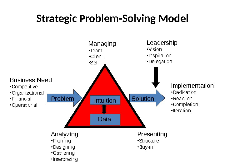 Strategic Problem-Solving Model Data. Intuition. Managing • Team • Client • Self Leadership • Vision •