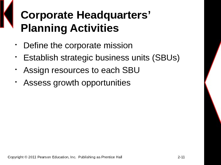 Corporate Headquarters' Planning Activities Define the corporate mission Establish strategic business units (SBUs) Assign resources to