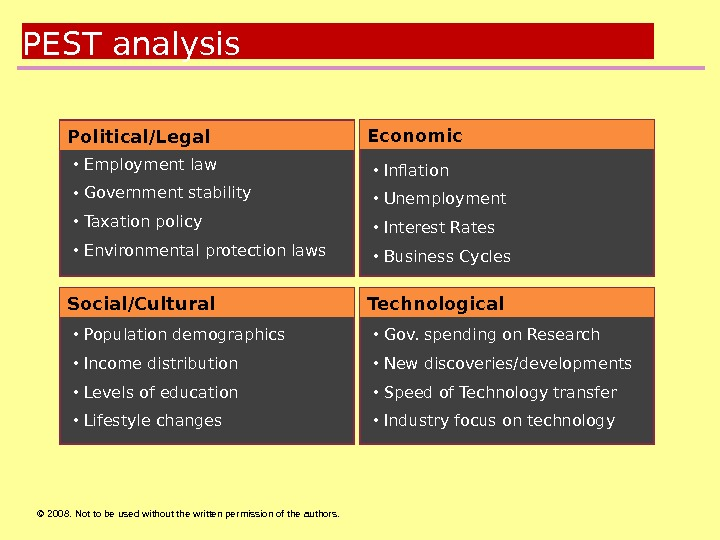 © 2008.  Not to be used without the written permission of the authors. PEST analysis