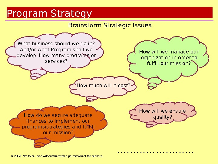 © 2008.  Not to be used without the written permission of the authors. Goals Brainstorm