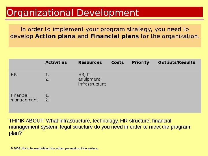 © 2008.  Not to be used without the written permission of the authors. Goals. Organizational