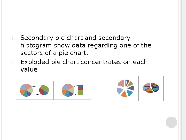1. Secondary pie chart and secondary histogram show data regarding one of the sectors of a