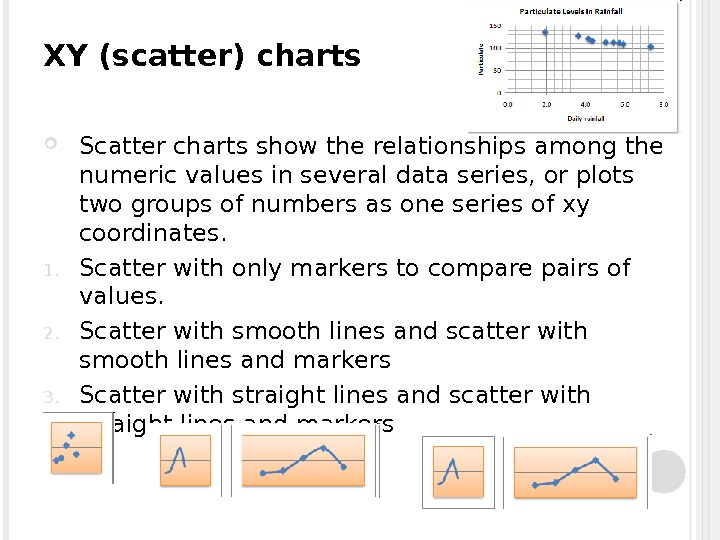 XY (scatter) charts Scatter charts show the relationships among the numeric values in several data series,