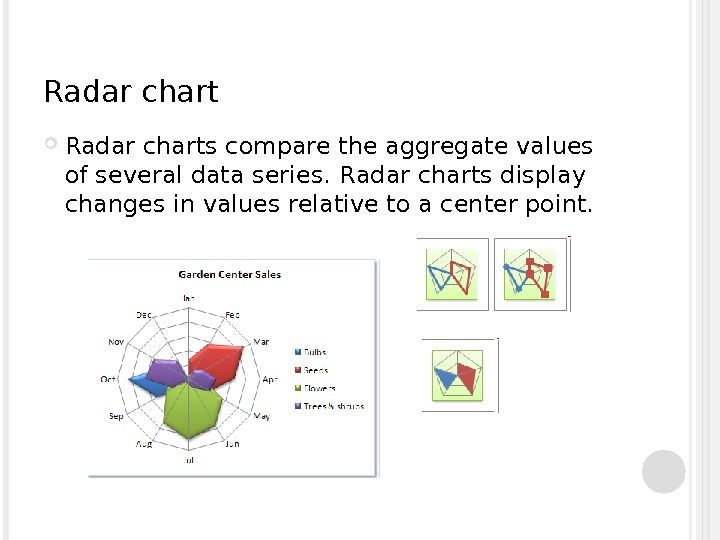 Radar charts compare the aggregate values of several data series.  R adar charts display changes
