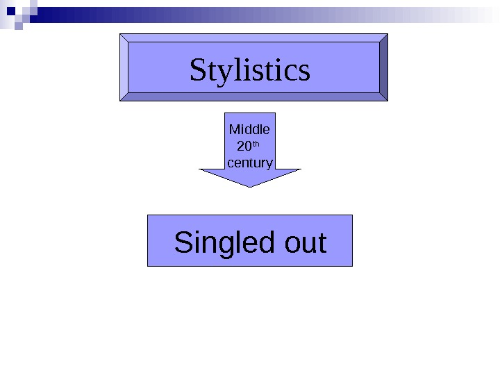 Stylistics Middle 20 th  century Singled out