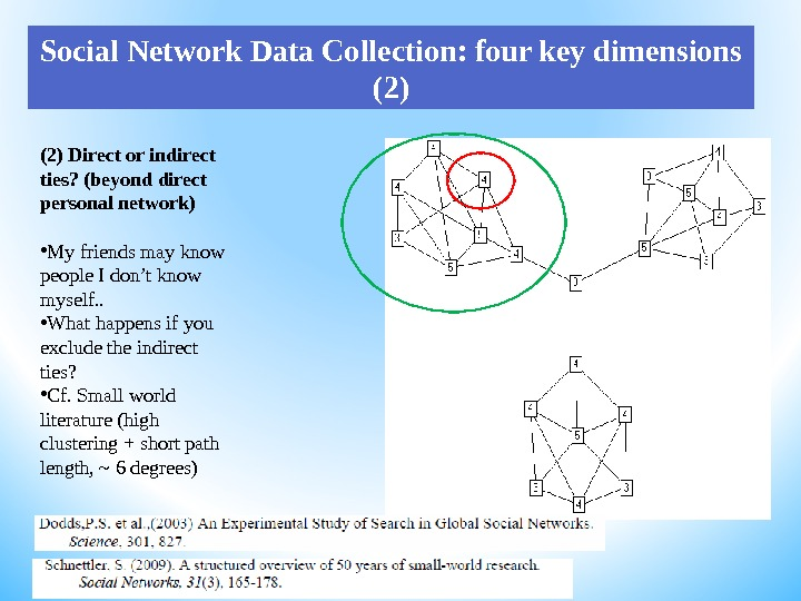 (2) Direct or indirect ties? (beyond direct personal network) • My friends may know people I