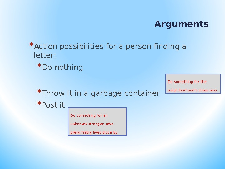 Arguments  * Action possibilities for a person finding a letter: * Do nothing * Throw