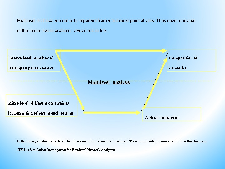 Multilevel methods are not only important from a technical point of view. They cover one side