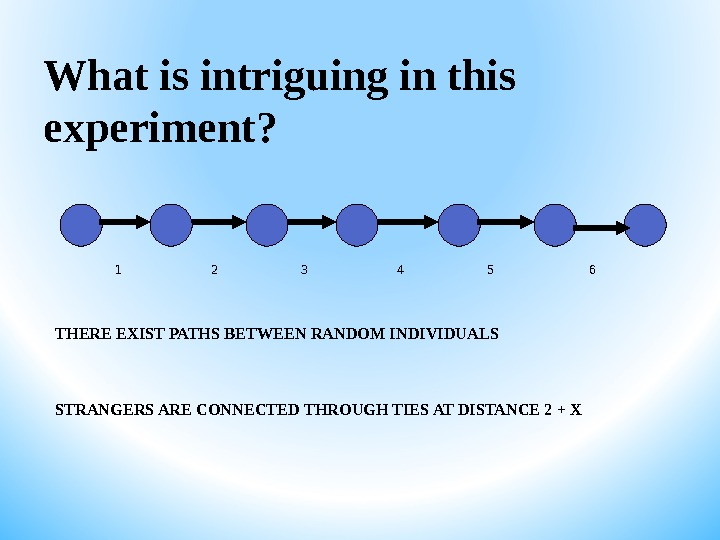 What is intriguing in this experiment? THERE EXIST PATHS BETWEEN RANDOM INDIVIDUALS STRANGERS ARE CONNECTED THROUGH