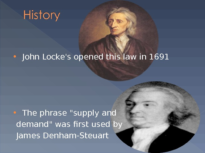 John Locke's opened this law in 1691  The phrase supply and  demand was