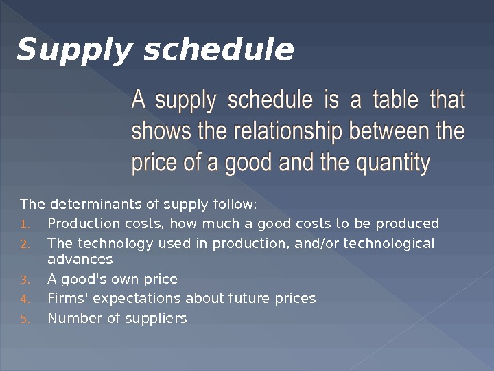 The determinants of supply follow: 1. Production costs, how much a good costs to be produced