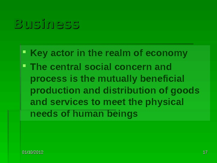 01/10/2012 1717 Business Key actor in the realm of economy The central social concern and process