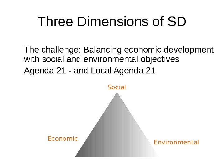 Three Dimensions of SD Social  Economic  Environmental. The challenge: Balancing economic development with social