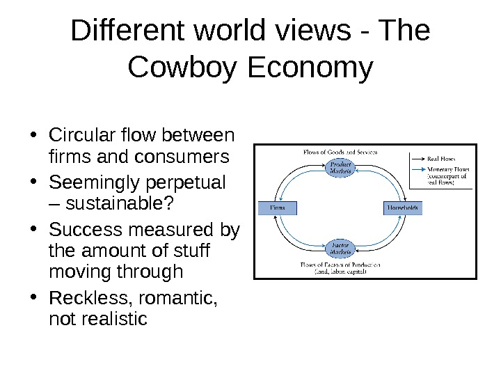 Different world views - The Cowboy Economy • Circular flow between firms and consumers • Seemingly