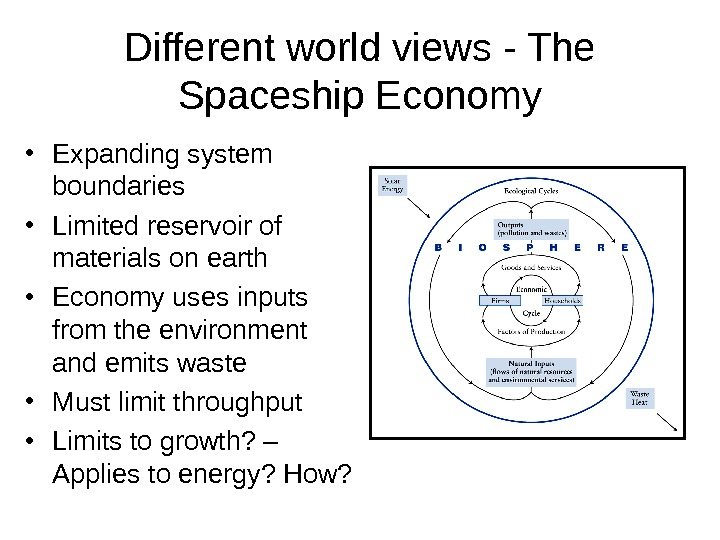Different world views - The Spaceship Economy • Expanding system boundaries • Limited reservoir of materials