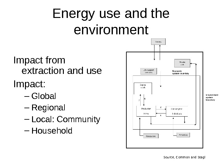 Energy use and the environment Impact from extraction and use Impact: – Global – Regional –