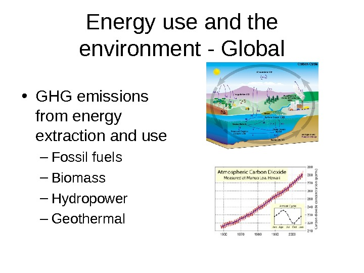Energy use and the environment - Global • GHG emissions from energy extraction and use –