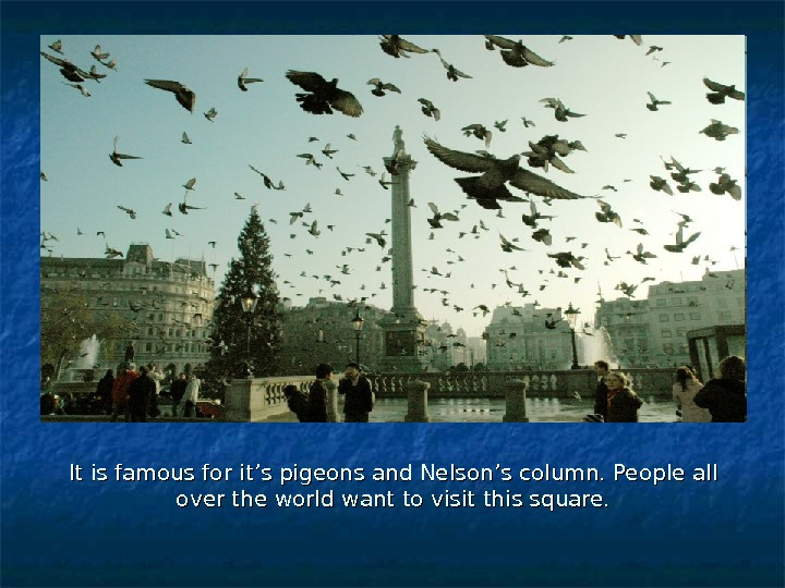 It is famous for it's pigeons and Nelson's column. People all over the world