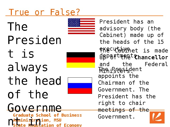 Graduate School of Business Administration, MSU State Regulation of Economy. True or False? The Presiden t