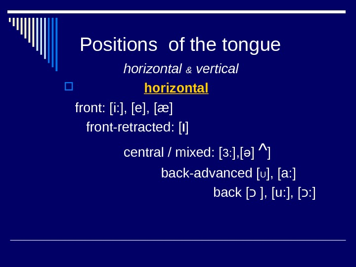 Positions of the tongue   horizontal & vertical     horizontal
