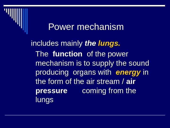 Power mechanism  includes mainly the lungs.   The  function