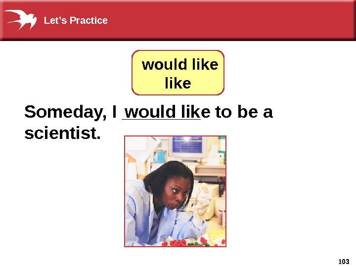103 Someday, I ____  to  be a scientist.   would like. Let's Practice