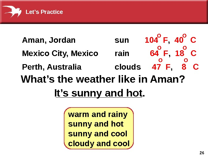 26________What's the weather like in Aman? It's sunny and hot. warm and rainy sunny and hot