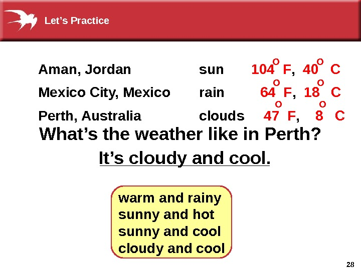 28_________What's the weather like in Perth? It's cloudy and cool. warm and rainy sunny and hot