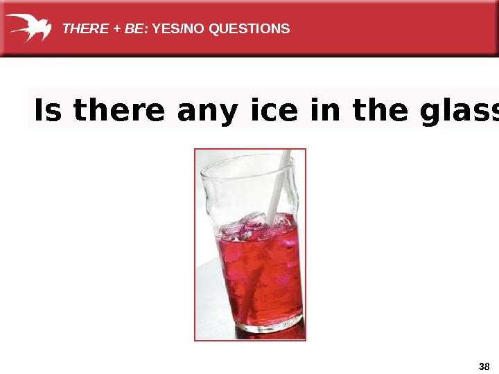 38 Is there any ice in the glass?  THERE + BE:  YES/NO QUESTIONS