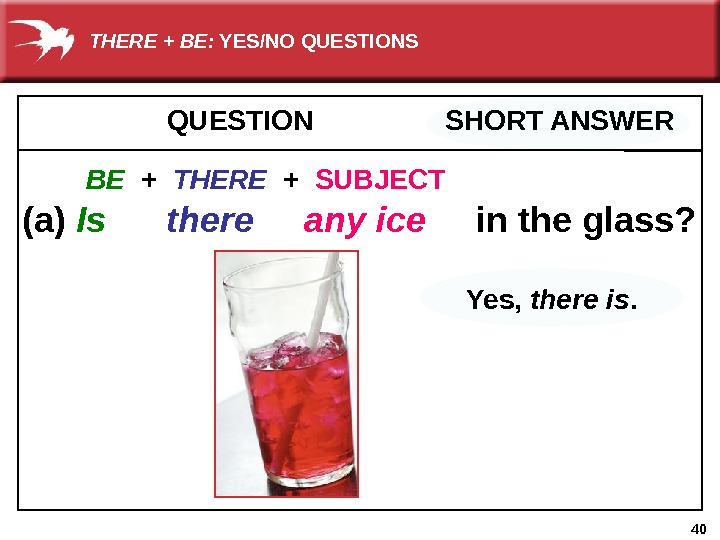 40 QUESTION   SHORT ANSWER  (a) Is  there  any ice  in
